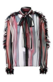 Полупрозрачная шелковая блуза с принтом Zuhair Murad