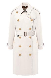 Двубортное хлопковое пальто с поясом Burberry
