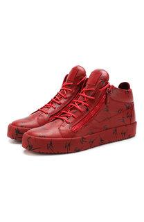 Кожаные кеды на шнуровке Giuseppe Zanotti Design