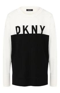 Вязаный пуловер с логотипом бренда DKNY