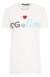 Хлопковая футболка с круглым вырезом и логотипом бренда Dolce & Gabbana