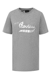 Хлопковая футболка с логотипом бренда 5PREVIEW