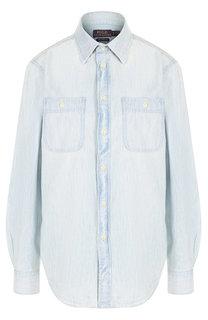 Джинсовая блуза с накладными карманами и принтом на спине Polo Ralph Lauren