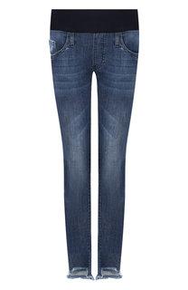 Укороченные джинсы с потертостями Pietro Brunelli