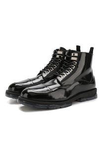 Кожаные ботинки на шнуровке с внутренней меховой отделкой Jimmy Choo