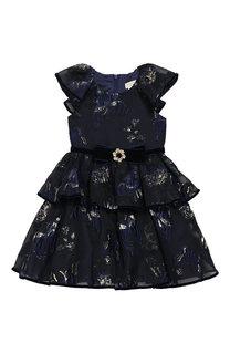 Платье с многослойной юбкой и бархатным поясом David Charles