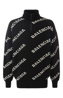 Шерстяной джемпер с воротником-стойкой на молнии Balenciaga