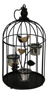 Подсвечник декоративный (25 см) Клетка с птичкой 16094 Акита