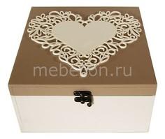 Шкатулка декоративная (24х24х13 см) Сердце 1012 Акита