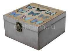 Шкатулка декоративная (24х24х13 см) Бабочки 1012-9 Акита