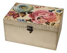 Шкатулка декоративная (26х18х11.5 см) Цветы 1725-13W Акита