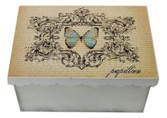 Шкатулка декоративная (26х18х13 см) Бабочка 1826-10-1 Акита