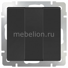 Выключатель трехклавишный без рамки Черный матовый WL08-SW-3G Werkel