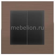 Выключатель проходной двухклавишный без рамки Aluminium (Черный матовый) WL08-SW-2G-2W-LED+WL08-SW-2G-2W Werkel