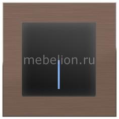 Выключатель одноклавишный с подсветкой без рамки Aluminium (Черный матовый) WL08-SW-1G-C +WL08-SW-1G-LED Werkel