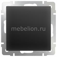 Выключатель проходной одноклавишный без рамки Черный матовый WL08-SW-1G-2W Werkel