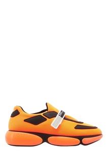 Оранжевые кроссовки с отделкой Prada