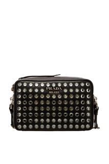Черная сумка с кристаллами Prada