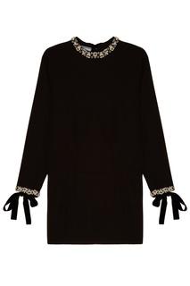Черное платье с отделкой Prada