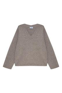Серый пуловер из шерсти и кашемира Prada