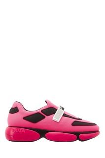 Розовые кроссовки с отделкой Prada