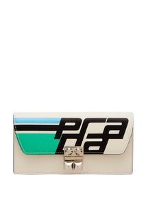 Белый кошелек с логотипом Prada