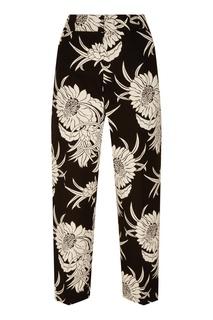 Черные брюки с цветочным принтом Prada