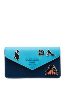 Голубой кошелек с аппликацией Prada
