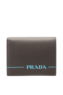 Кожаный кошелек с синим логотипом Prada