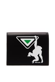 Черный кошелек с контрастным принтом Prada
