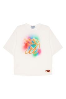 Белая футболка с принтом Prada