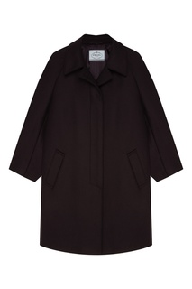 Черное шерстяное пальто Prada
