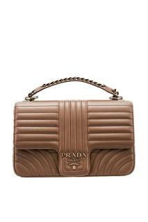 Серая сумка с рельефной отделкой Prada