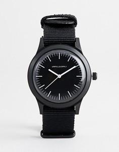 Монохромные часы с черным плетеным ремешком ASOS DESIGN - Черный