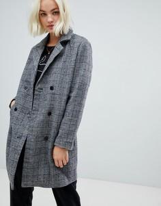 Строгое пальто в клетку с добавлением шерсти Blend She Sanna - Серый