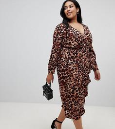Платье миди с запахом и леопардовым принтом Influence Plus - Коричневый