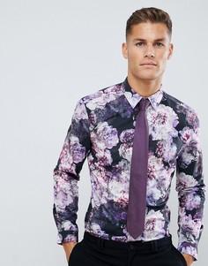 Фиолетовая строгая приталенная рубашка с цветочным принтом Burton Menswear - Фиолетовый