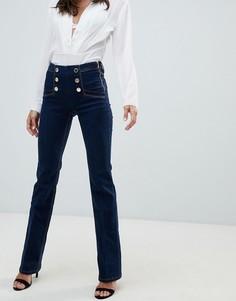 Расклешенные джинсы цвета индиго с завышенной талией и пуговицами Morgan - Синий