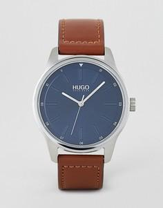 Часы с синим циферблатом и коричневым кожаным ремешком HUGO 1530029 Dare - Коричневый