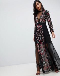 Черное платье макси с вышивкой Frock And Frill - Черный