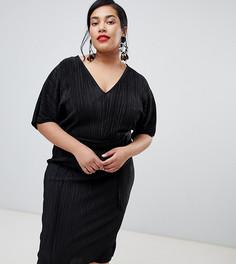Черное платье-кимоно с плиссировкой River Island Plus - Черный