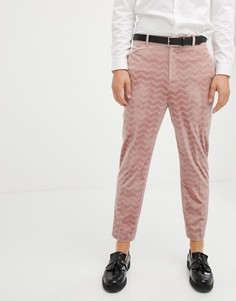 Суженные книзу розовые строгие брюки из бархатистого вельвета ASOS DESIGN - Розовый