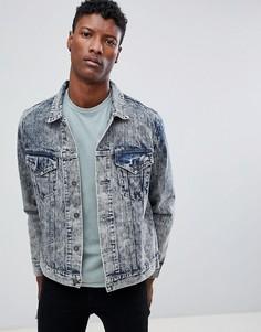 Джинсовая куртка в стиле вестерн с эффектом кислотной стирки Dead Vintage - Синий