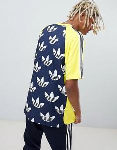 Трикотажная футболка с принтом на спине adidas Originals DH5132 - Желтый