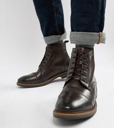 Коричневые ботинки на шнуровке Base London Wide Fit - Коричневый