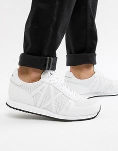 Кожаные белые кроссовки с логотипом Armani Exchange - Белый