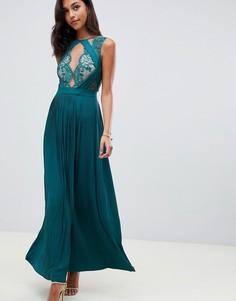 Платье макси с фигурным кружевом и плиссировкой ASOS DESIGN premium - Зеленый