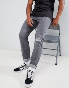 Серые джинсы слим с потертостями Lee Rider - Серый