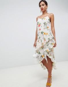 Асимметричное платье с цветочным принтом Vila - Мульти