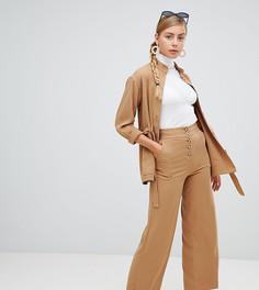 Широкие брюки с карманами Monki - Бежевый